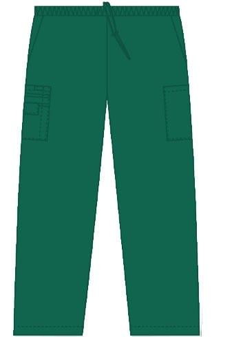 Unisex drawstring 5 pocket scrub pant spruce