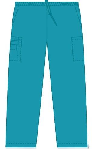 Unisex drawstring 5 pocket scrub pant teal