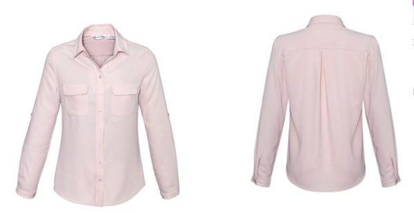 Ladies Madison Long Sleeve Blush Pink