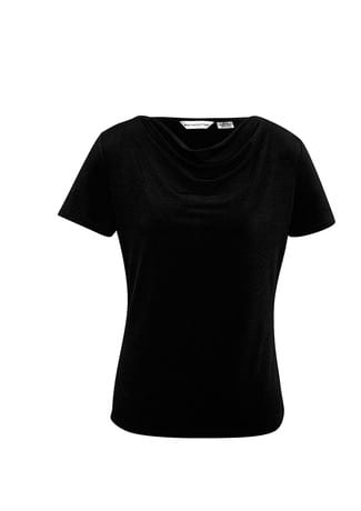 Ladies Ava drape knit top Black