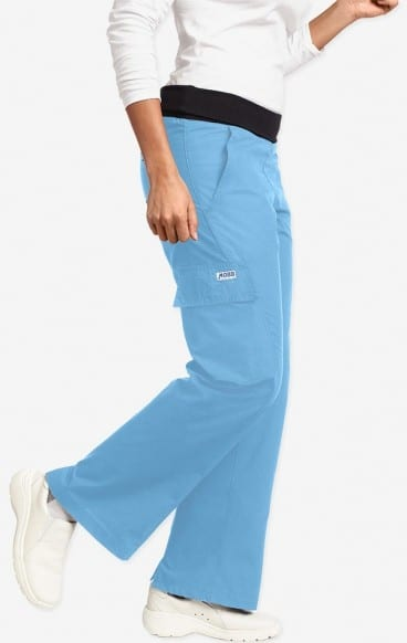 Ladies Flexi Waist Scrub Pant Sky Blue