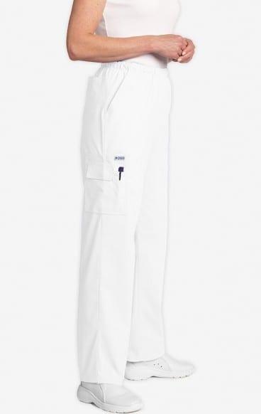 Unisex drawstring 5 pocket scrub pant white