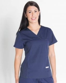 Ladies Fit Solid Colour Scrub Top Navy